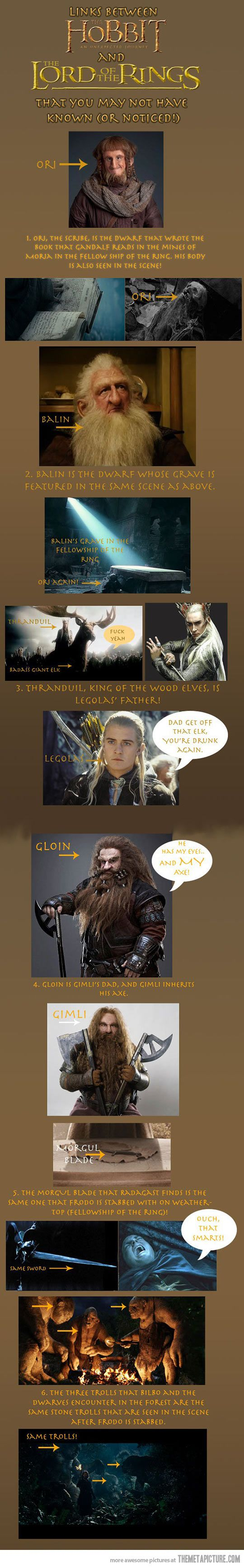 Links between The Hobbit and The Lord of the Rings (this will make me sad when i see the moria scene now :(  )