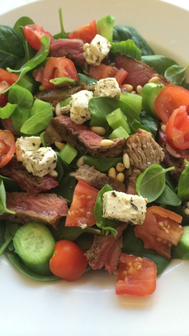 Lunch at my #desk grilled #steak with #moroccan #spices #fetta #babyspinach #baby #cucumber #cherrytomato #pinenuts