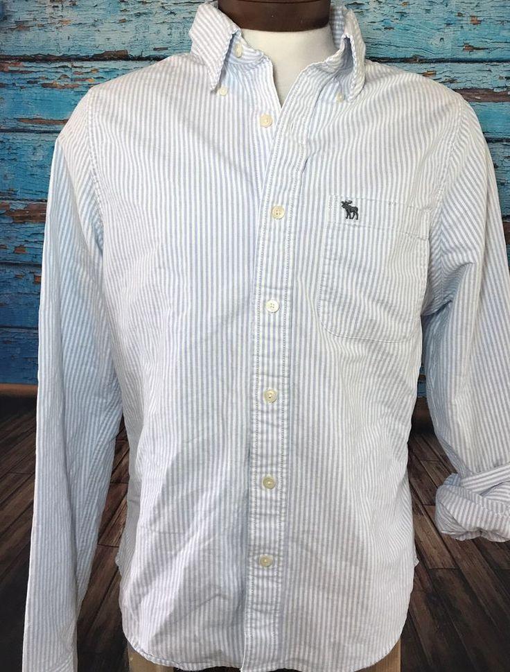 Abercrombie Men's Blue Striped Button Down Muscle Shirt Sz XL Extra Large    eBay