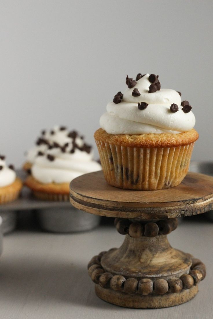 super moist, rich tender sour cream brown sugar cupcakes with mini chocolate chips; topped with brown sugar cooked flour buttercream