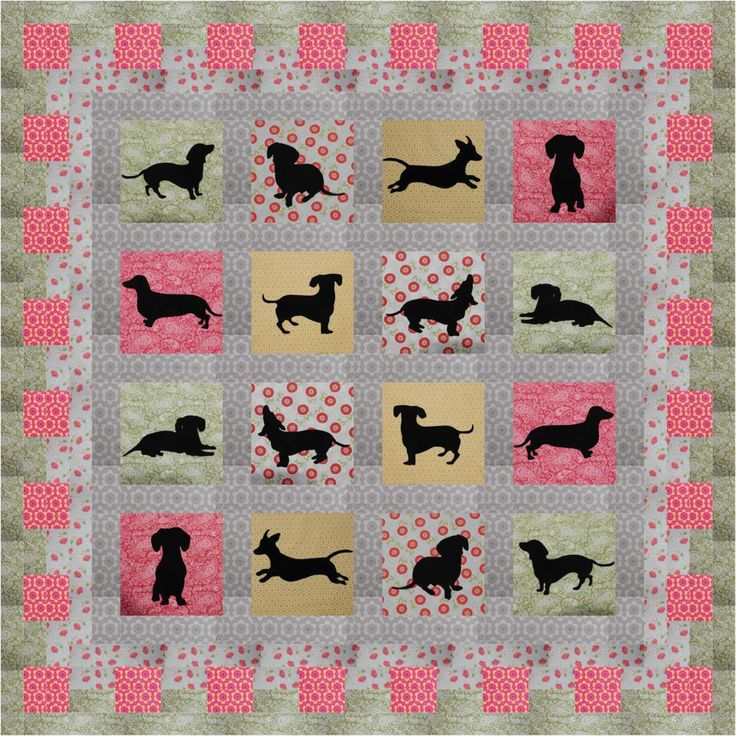 Doxie Dollies Dachshund Silhouette Pattern by AllDogsWhimsical