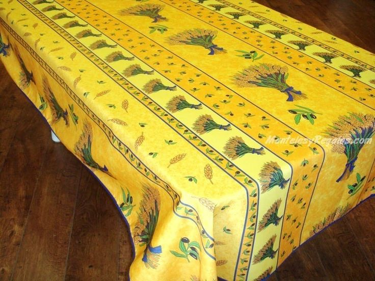 Mantel Antimanchas de Poliéster - Modelo ESPIGAS DE TRIGO - Amarillo
