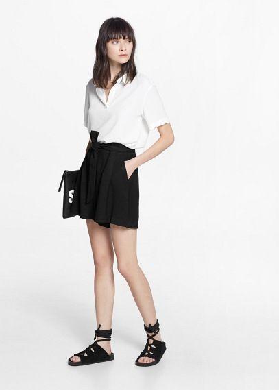 Soepelvallende shorts met strik