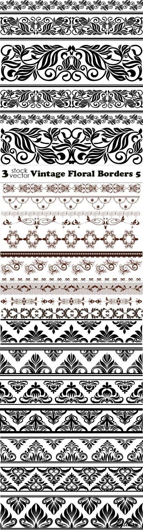 Цветочные бордюры - вектор для декора. Vectors - Vintage Floral Borders 34