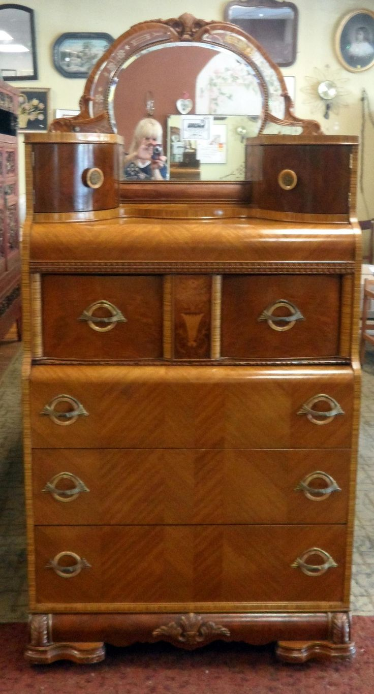 Art Deco Waterfall Tall Boy Dresser With Mirror Fleapop Buy And Sell Home Decor Furniture