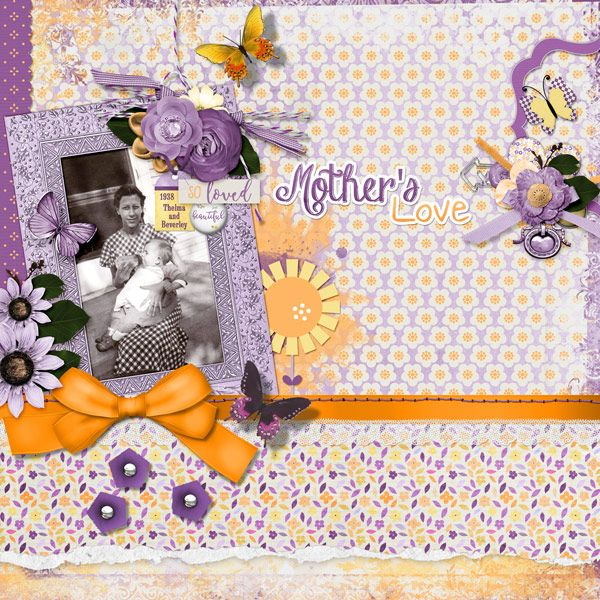 This is for Elizabeth's May 2017 Spotlight The Collab Challenge.  I used Mother... by ScrapBird Designers.