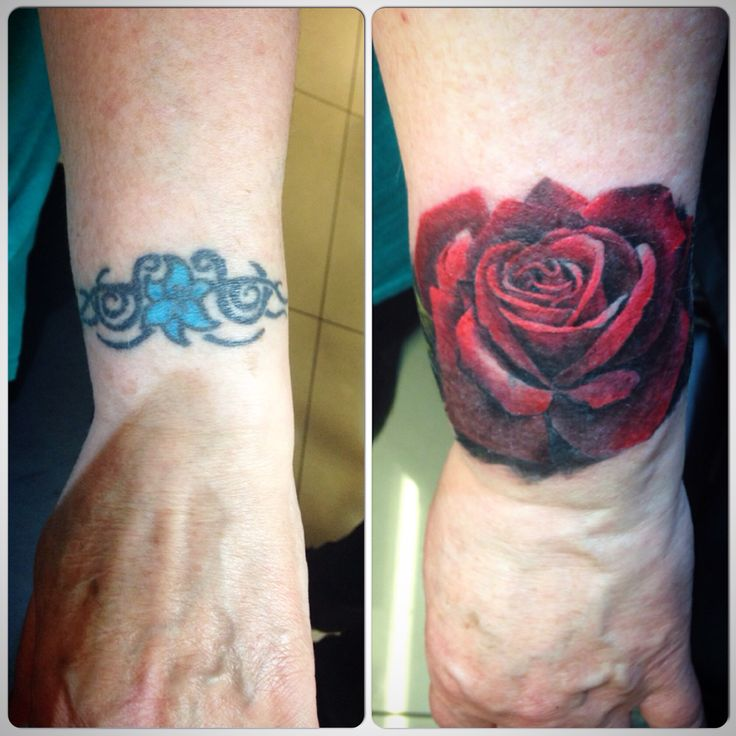 Cover up rose tattoo