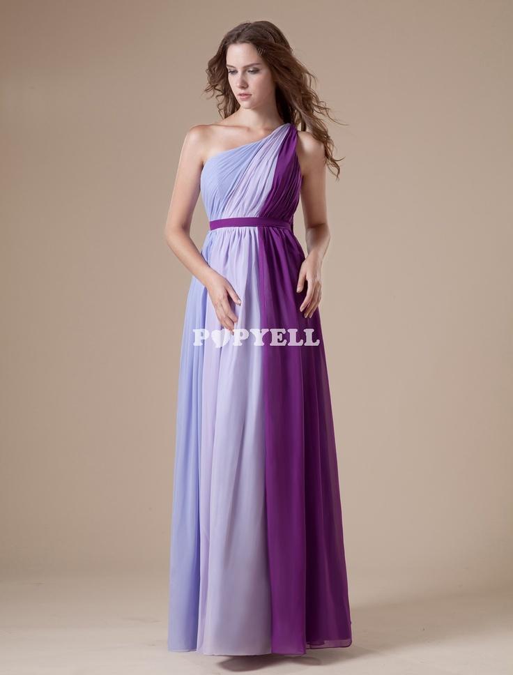 #robe #RobeDemoiselleD'honneur #lilas en chiffon à une épaule a prix pas cher chez Popyell.com