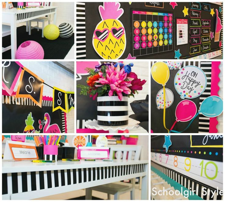 Neon Pop Collection by Schoolgirl Style www.schoolgirlstyle.com pineapples, emoji, stars, flamingo, neon, bright bulletin boards