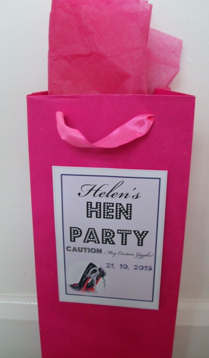 Hen Party Bags Stickers. Personalised with the Hens name.