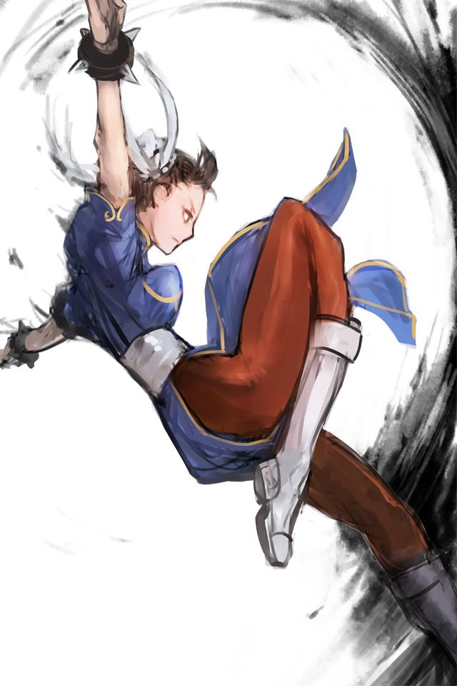 1girl boots bracelet breasts brown_hair brown_legwear bun_cover china_dress chinese_clothes chun-li double_bun from_side inkblot jewelry kicking knee_boots pantyhose pelvic_curtain short_hair solo spiked_bracelet spikes street_fighter street_fighter_iv thick_thighs thighs totteri