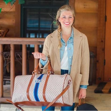 Barrington Monogrammed Belmont Cabin Bag The Belmont Cabin Bag is a stylish spin on the traditional duffel Crafted in durable water resistant Ballisti