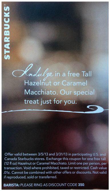 Buy Dealz ::Free Tall Caramel or Hazelnut Macchiato