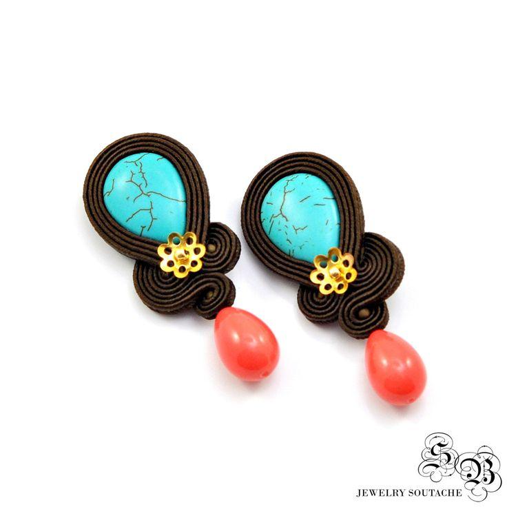 Boho Clip On Earrings, Brown Turquoise Dangle Black Earrings, Soutache Jewelry, Soutache Earrings, Handmade Earrings, Unique Earrings by SBjewelrySoutache on Etsy