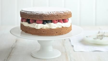 """Victoria sponge"". Another version using real fruit instead of jam. This one also gives American equivalent measurements, so less converting for us Yanks. :)"
