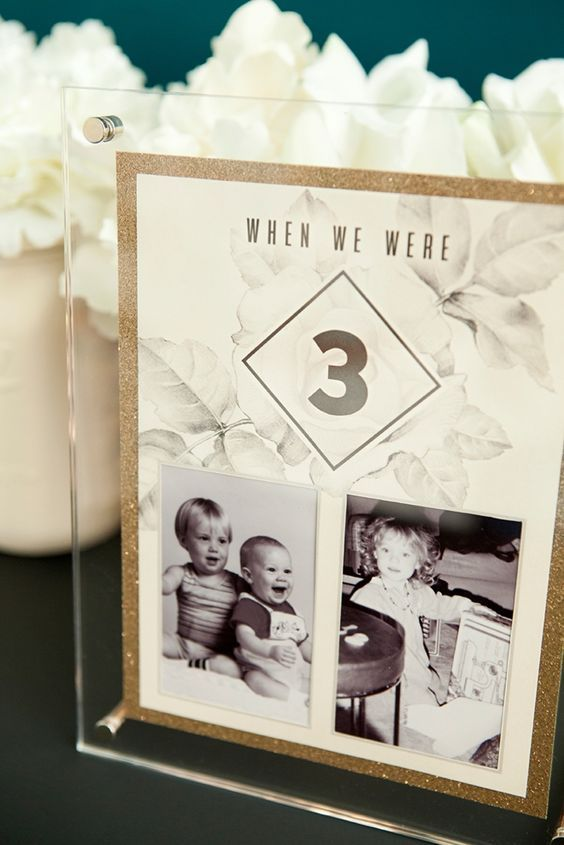 DIY table numbers with photos of the bride and groom at each table  / http://www.himisspuff.com/wedding-table-numbers-centerpieces/number age