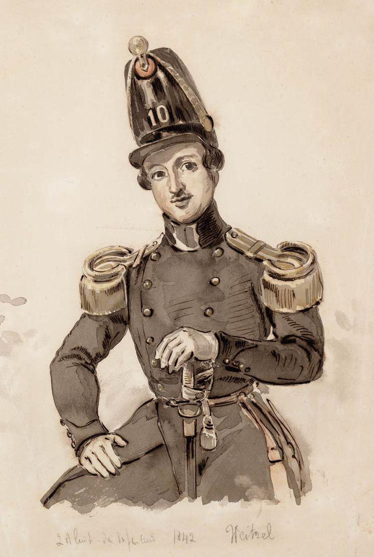 Portret van 2e luitenant van het 10e Regiment Infanterie, A.W.P. Weitzel