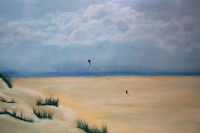 """oil on panel """"the Kite"""" (for sale) made by Tirza Atsma-Hoornstra"""