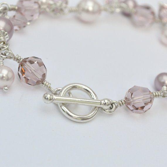 Bridesmaid bracelet. Dusty Rose pearl bracelet by somethingjeweled