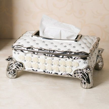Luxe bruiloft tissue doos houder met tonijnfilet diamant en bloem decoratieve elegante keramische servet doos voor moderne thuis decors in  van weefsel dozen op AliExpress.com | Alibaba Groep