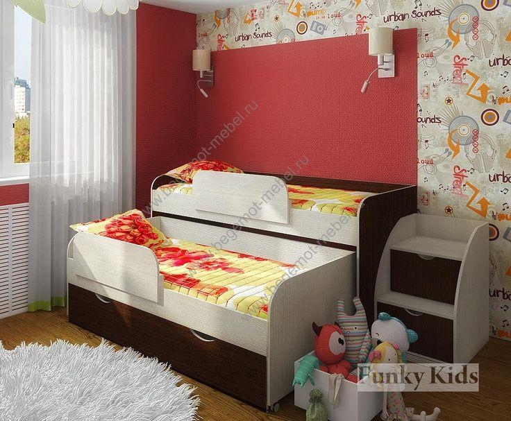 Детская мебель - моноблоки / Двухъярусные кровати Фанки Кидз :: Фанки Кидз 8 + два бортика для кровати 13/17СВ + лестница 13/19СВ