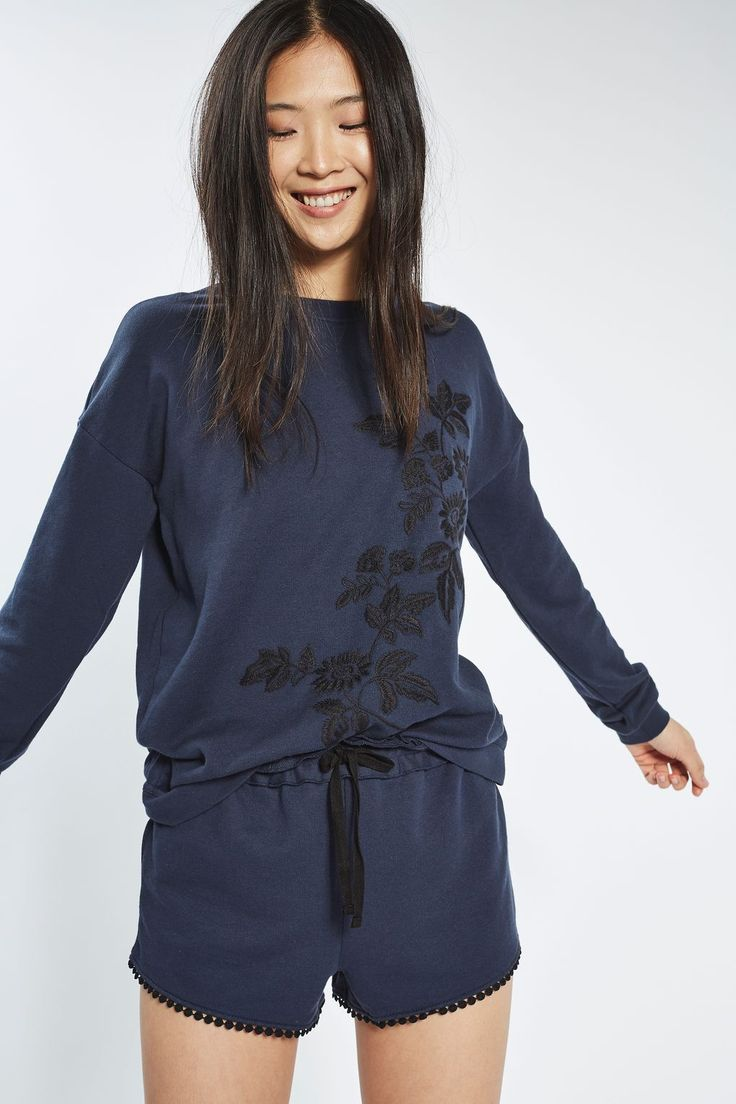 Floral Embroidered Sweatshirt - Nightwear - Clothing - Topshop