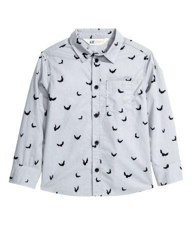 Katoenen overhemd met print | Lichtgrijs/vleermuis | Kinderen | H&M NL