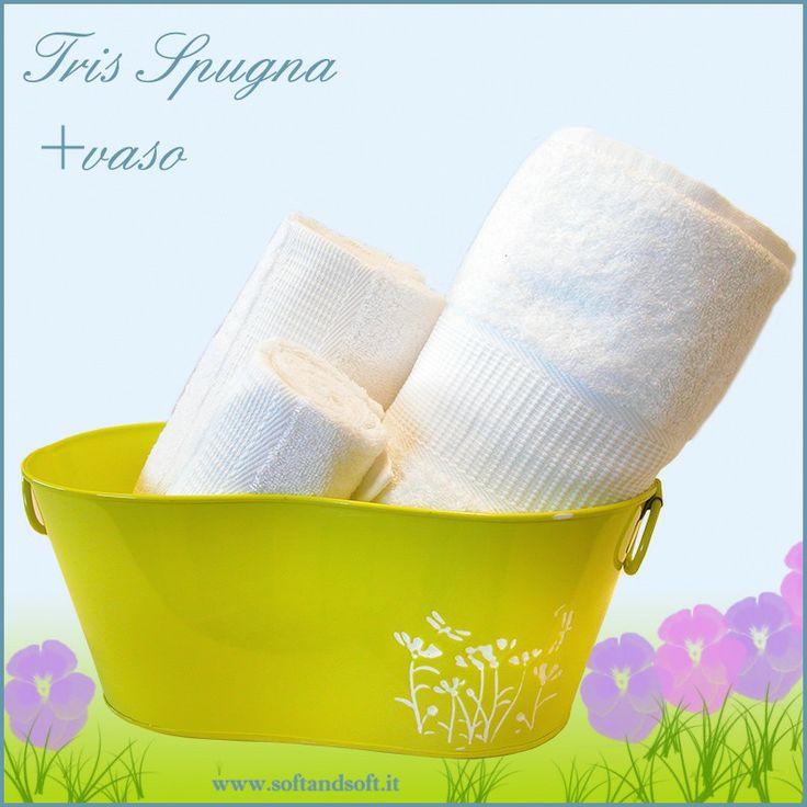 Spring Tris asciugamani (ospite viso telo) + vaso in metallo giallo