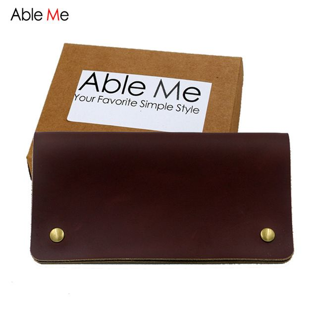 Special offer AbleMe Vintage Leather Men Wallet High Quality Handmade Purse Personality Business Credit Card Holder Custom Name Wallet Clip just only $17.26 with free shipping worldwide  #walletsformen Plese click on picture to see our special price for you