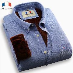 [ 25% OFF ] Langmeng  Oxford 100% Cotton Men Velvet Shirt Business Regular Warm Casual Shirts Men Fashion Slim Fit Dress Shirts