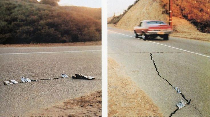 Ger van Elk -Discovery of the Sardines - L'opera è composta da due fotografie a colori scattate dall'artista in California durante il terremoto del 1971. Le ferite provocate sul manto stradale dal sisma sono aperture in cui l'artista ha collocato le sardine.  #street #car