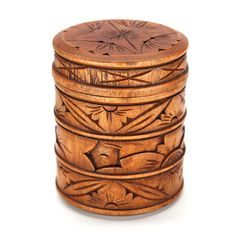 "HARI WOOD BOX Cylindrical box with lid carved from mahogany wood. 5.2"" x 4.2"". Handmade by talented artisans in developing countries. Imported. Be sure to enter Kendra.IThoughtOfYou@gmail.com at checkout!"
