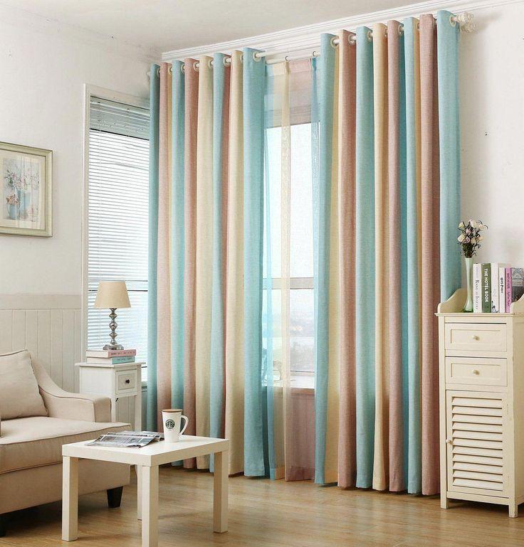 ZWB Fashionable Rod Pocket Striped Window Sheer Curtains ...