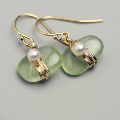 Pretty green earings with pearls - Living a Life in Flower