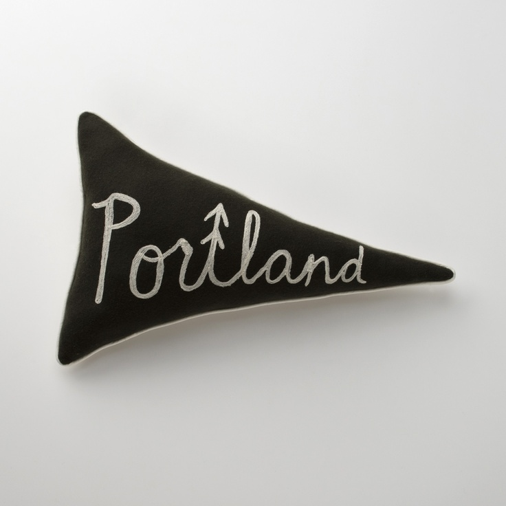 Pennant Pillows: Portland. From Schoolhouse Electric. NYC is pretty niiice too.