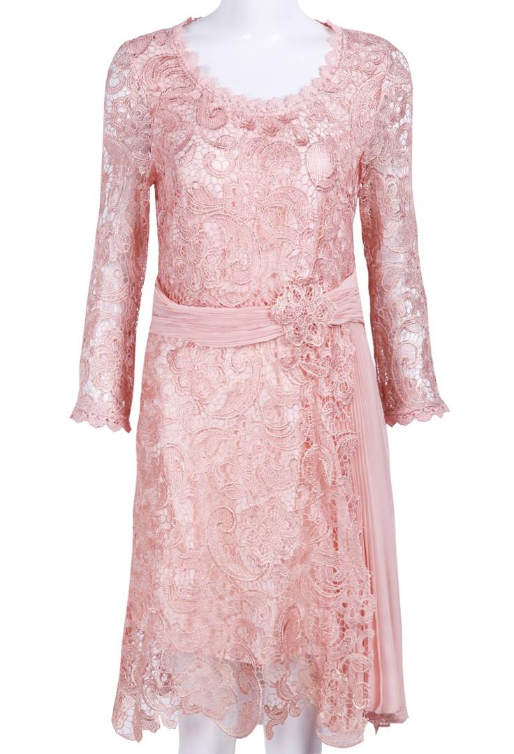 Pink Long Sleeve Embroidery Belt Lace Dress - Sheinside.com