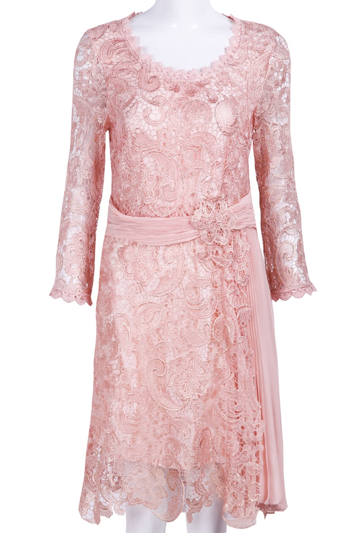 Pink Long Sleeve Embroidery Belt Lace Dress - Sheinside.com