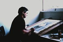 """(John Brack working) John Brack (1920 - 1999) was an Australian painter, and a member of the Antipodeans group. According to one critic, Brack's early works captured the idiosyncrasies of their time """"more powerfully and succinctly than any Australian artist before or since."""