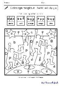 Keith Haring : coloriage magique sur les lettres p q d b g