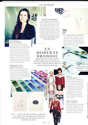 Tine Wessel in the Danish ELLE december issue. Have a look at www.facebook.com/theneedlehasapoint