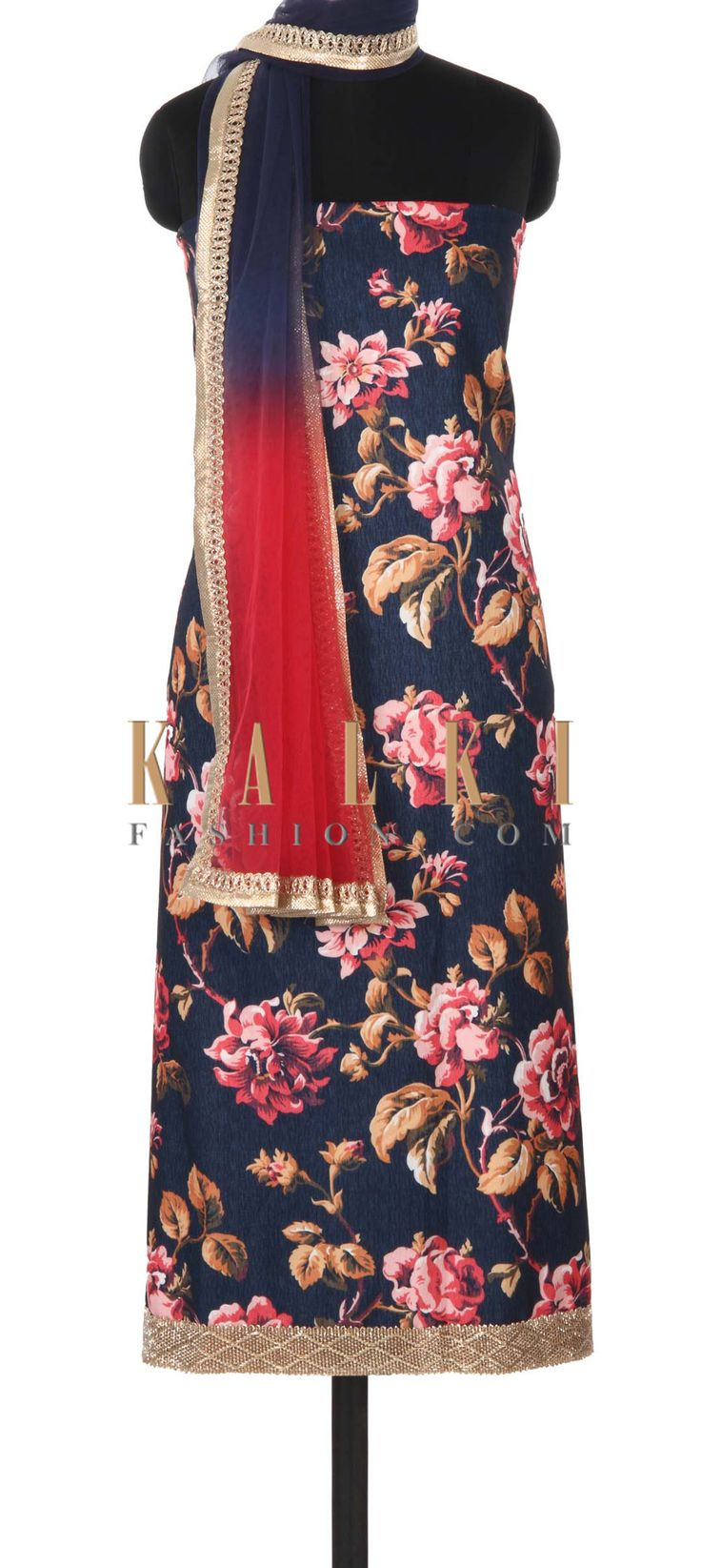 Buy this Navy blue unstitched suit in floral print only on Kalki