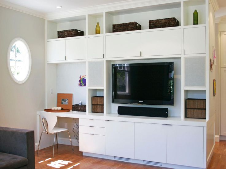 A Modern White Entertainment Center Lines One Wall In This Living Room Top Cabinets Feature
