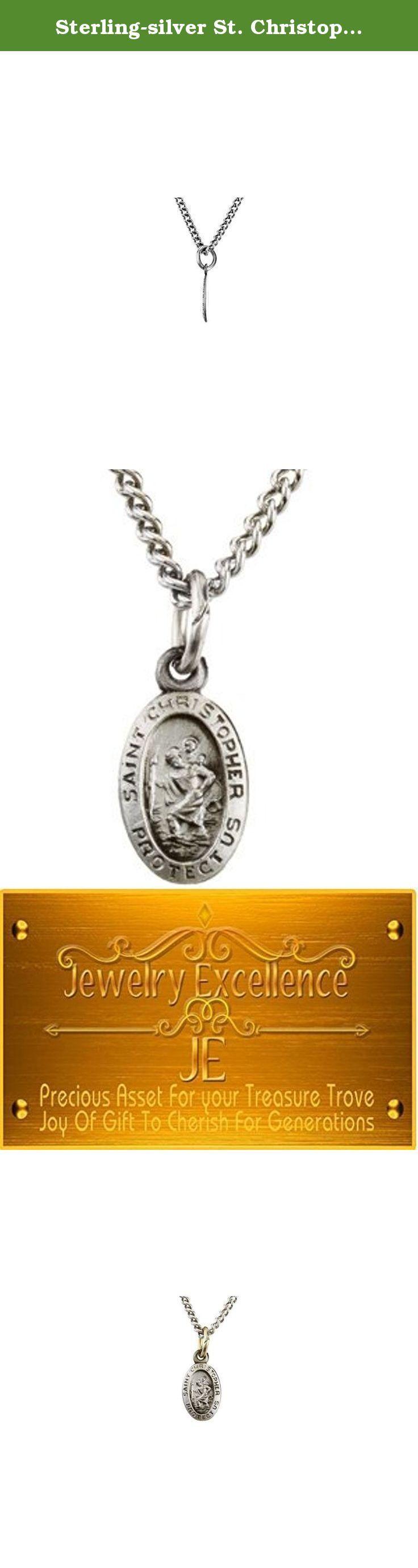 Sterling-silver St. Christopher Medal. Sterling Silver 12.25x8.75mm Oval St. Christopher 18 Necklace; QUALITY: Sterling Silver; PRODUCT: Necklace; JEWELRY STATE: N/A Min Wt: 0.26 grams;.