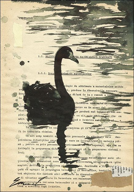 Handmade Ink Drawing Original Art Swan Painting Gift by rcolo, $30.00