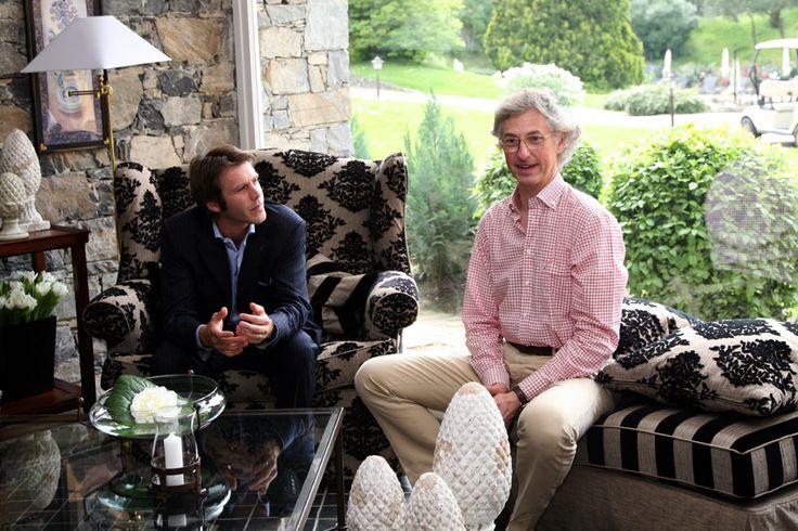 "Edmondo Segre chatting with Emanuele di Savoia at ""La Meridiana Garlenda"""