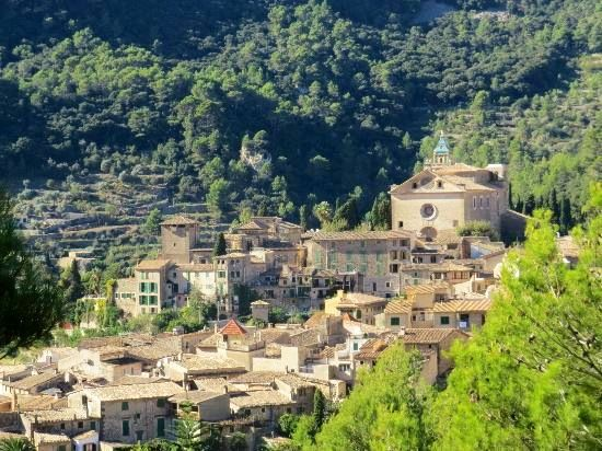 Valldemoss, Mojorca, Spain. A mountain village with this huge monastery in the centre.