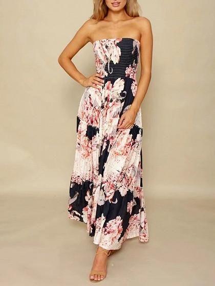 Black Floral Print Stretch Tube Maxi Dress