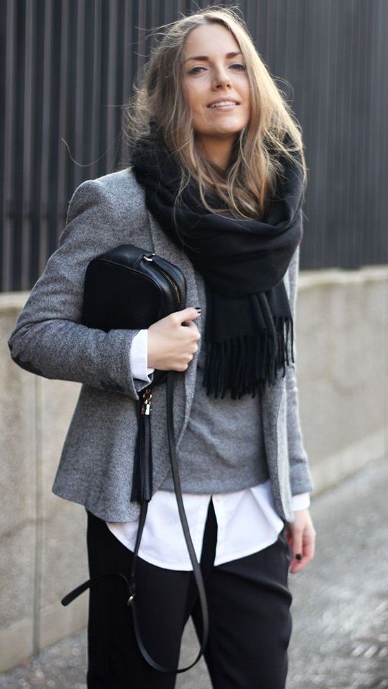 Fall fashion | black + grey + white