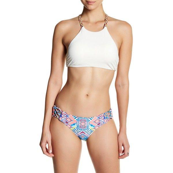 Red Carter Braided Back High Neck Bikini Top ($29) ❤ liked on Polyvore featuring swimwear, bikinis, bikini tops, cream, tankini tops, high neck strappy bikini, high neck swimsuit top, strap bikini and high neck bikini