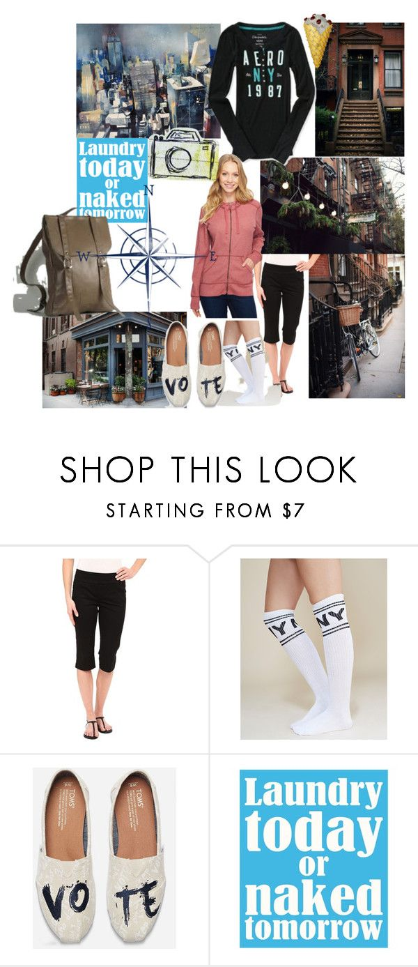 """Cute and sporty"" by lerp ❤ liked on Polyvore featuring Miraclebody Jeans by Miraclesuit, Wet Seal, TOMS, Sixtrees, Aéropostale and Carhartt"
